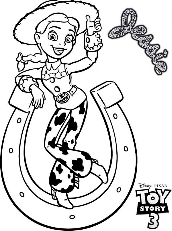 Jessie And A Horseshoe Tipping In Toy Story 3 Coloring ...