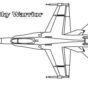Jet Fighter Sky Warrior Interceptor Coloring Page