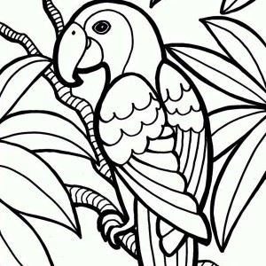Jungle Parrot Coloring Page