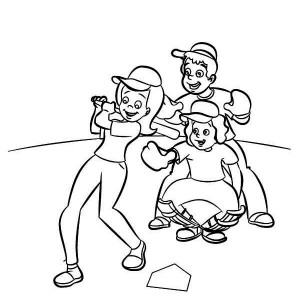 Kids Playing Baseball Coloring Page