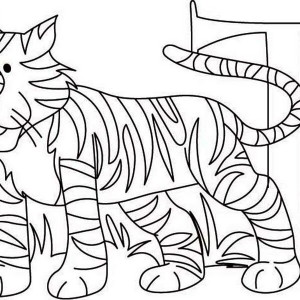Learn Letter T For Tiger Coloring Page