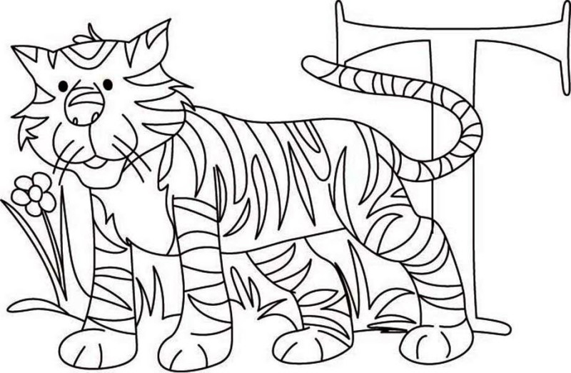 Print Learn Letter T For Tiger Coloring Page In Full Size