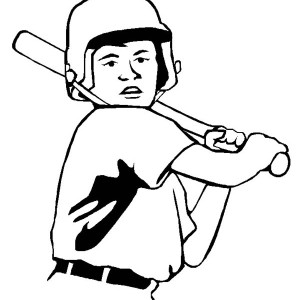 Left Handed Baseball Player Coloring Page