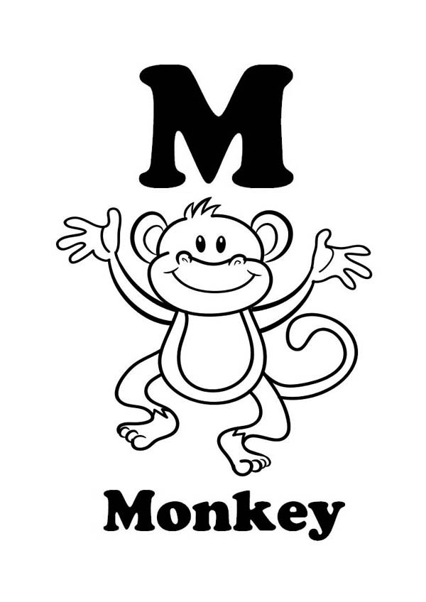 Letter M For Monkey Coloring Page Download Print