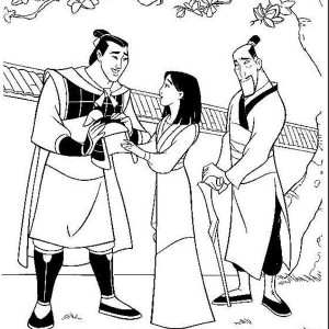 Li Shang, Mulan And Her Father After The Battle Coloring Page