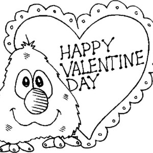 Little Elmo Say Happy Valentine's Day Folks Coloring Page