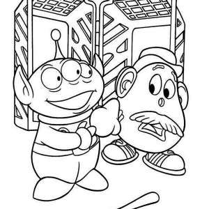 Little Green Men And Mr Potato Head In Toy Story Coloring Page