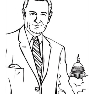 Lyndon B Johnson In Front Of Capitol Hill On Presidents Day Coloring Page