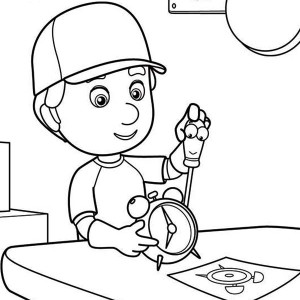 Manny Fixing A Clock With Felipe Handy Manny Coloring Page