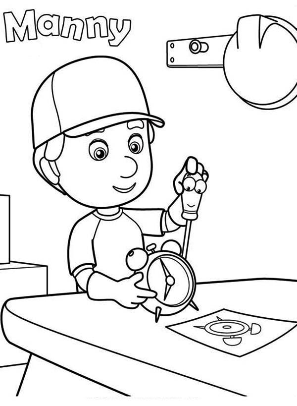 Manny Fixing A Clock With Felipe Handy Manny Coloring Page ...