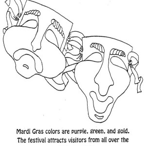 Mardi Gras Colors Are Purple Green And Gold Coloring Page
