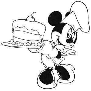 Minnie Mouse Cooking A Cake Coloring Page