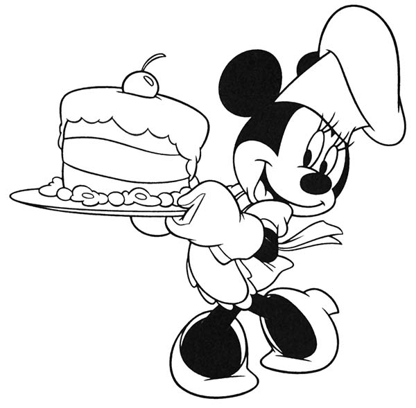 Minnie Mouse Cooking A Cake Coloring