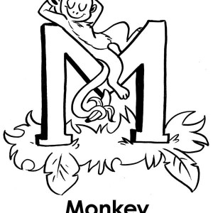 Monkey Sleeps On Letter M Coloring Page