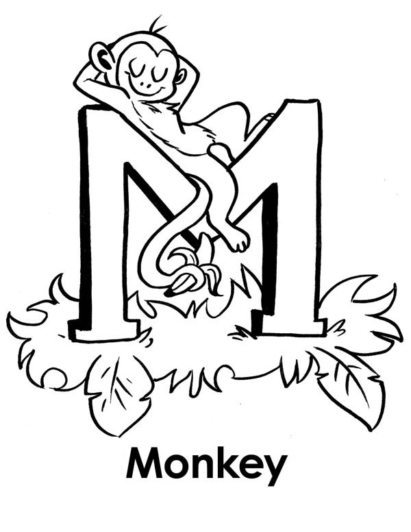 Monkey Sleeps On Letter M Coloring Page Download Print Online