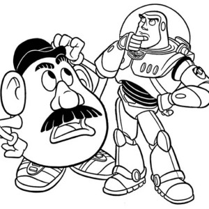 Mr Potato Head And Buzz In Toy Story Coloring Page