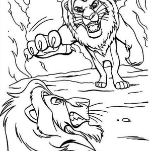 Mufasa And Scar Are Fighting The Lion King Coloring Page