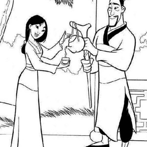Mulan Drinking Tea With His Father Coloring Page