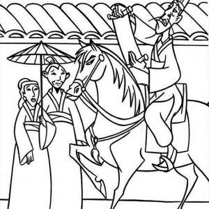 Mulan Sneaking To Hear The Announcement Coloring Page