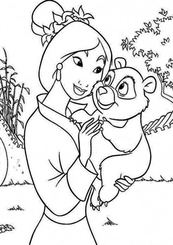 Mulan and Her Little Panda Pet Coloring Page Download