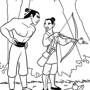 Mulan And Li Shang Practising Archery Coloring Page