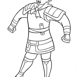 Mulan In Her Soldier Uniform Coloring Page
