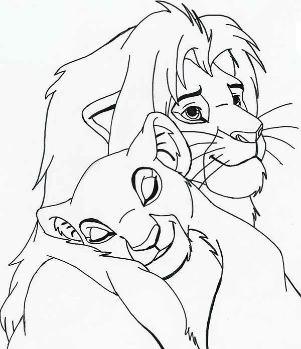 Nala Sleep On Simba Shoulder Coloring Page - Download ...