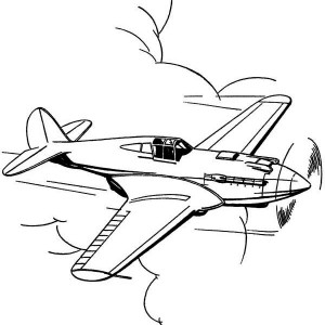 P51 Mustang US Fighter Airplane Coloring Page