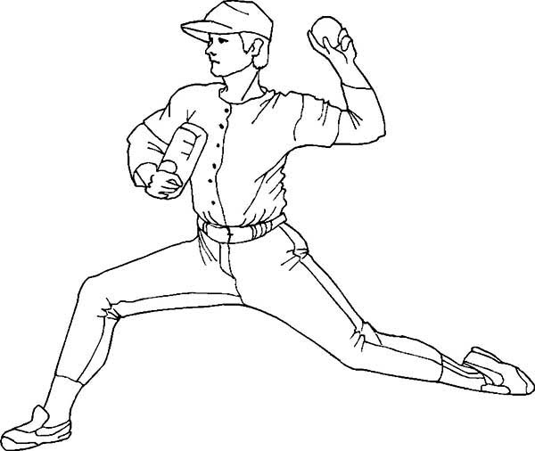 Pitcher Throwing Baseball Coloring Page Download Amp Print