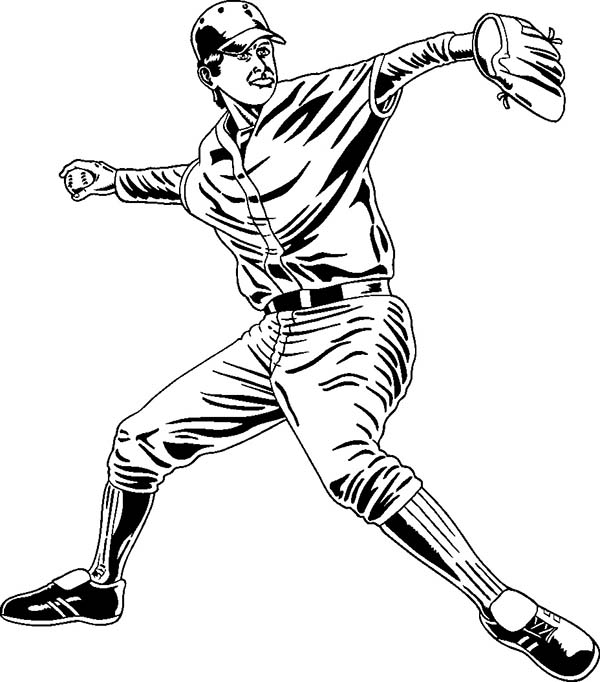 Professional Baseball Player Coloring Page Download Print Online