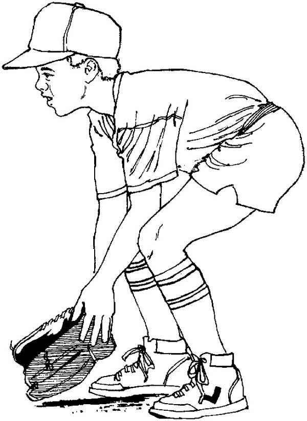 Ready To Catch A Baseball Coloring Page Download Amp Print