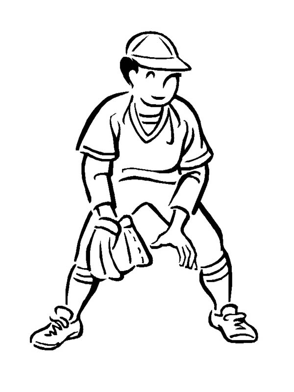 Second Base Baseball Player Coloring Page - Download ...