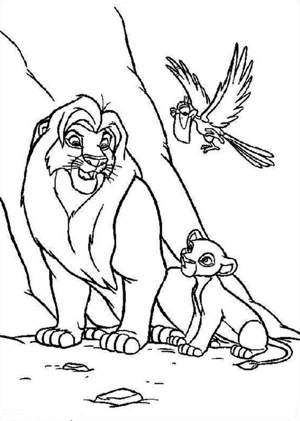 Simba Mufasa And Zazu The Lion King Coloring Page Download