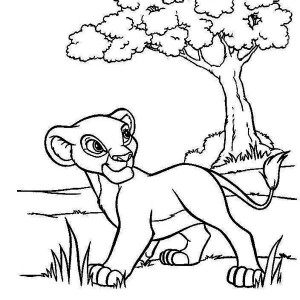 Simba Wander Around Coloring Page