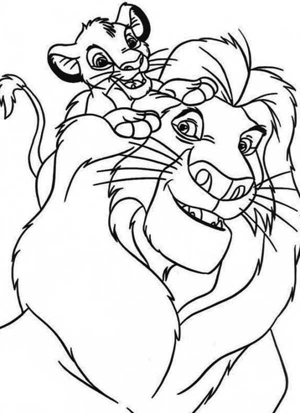 Simba and his father mufasa coloring page download - Simba coloriage ...