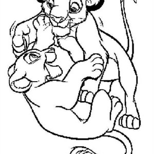 Simba And His Girlfriend The Lion King Coloring Page
