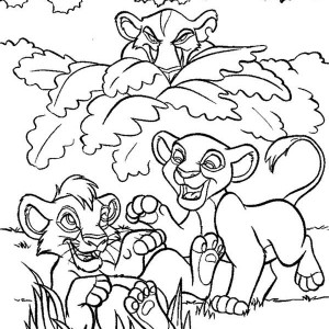 Simba And Nala Peeked By Scar Coloring Page