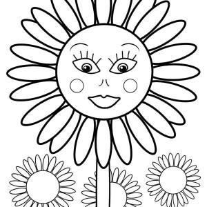 Sunflower Smiling FaceColoring Page
