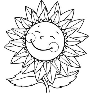 Sunflower Sweet Smile Coloring Page