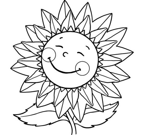 Sunflower Sweet Smile Coloring Page Download Amp Print
