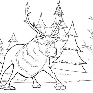 Sven From Disney Movie Frozen Coloring Page