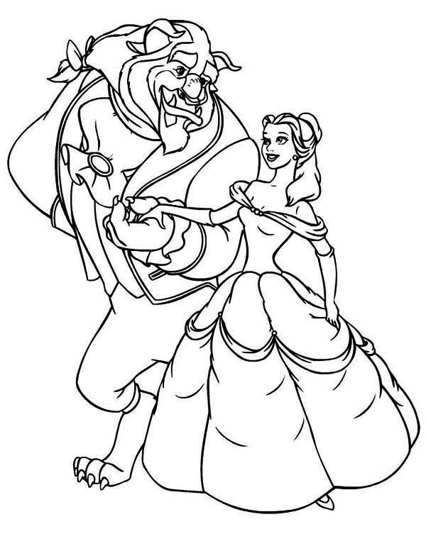The Beast Invite Belle to Dance Coloring Page - Download ...