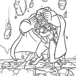 The Beast Protect Belle From The Rubbles Coloring Page
