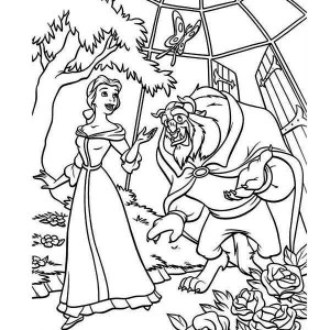 The Beast Showing Belle His Garden Coloring Page
