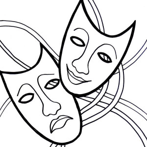 The Comedy Tragedy Mask On Mardi Gras Coloring Page