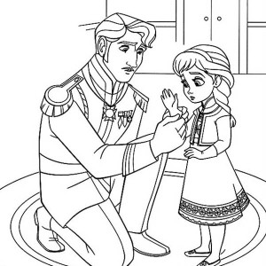 The King Arendelle Put Gloves To Young Elsa Coloring Page