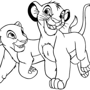 The Lion King Simba And His Girlfriend Coloring Page