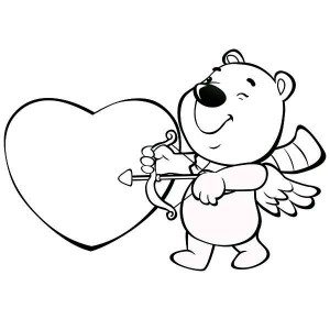 This Cute Little Bear Is Acting As Cupid For Valentine's Day Coloring Page