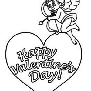 This Little Cupid Say Happy Valentine's To Everyone Coloring Page