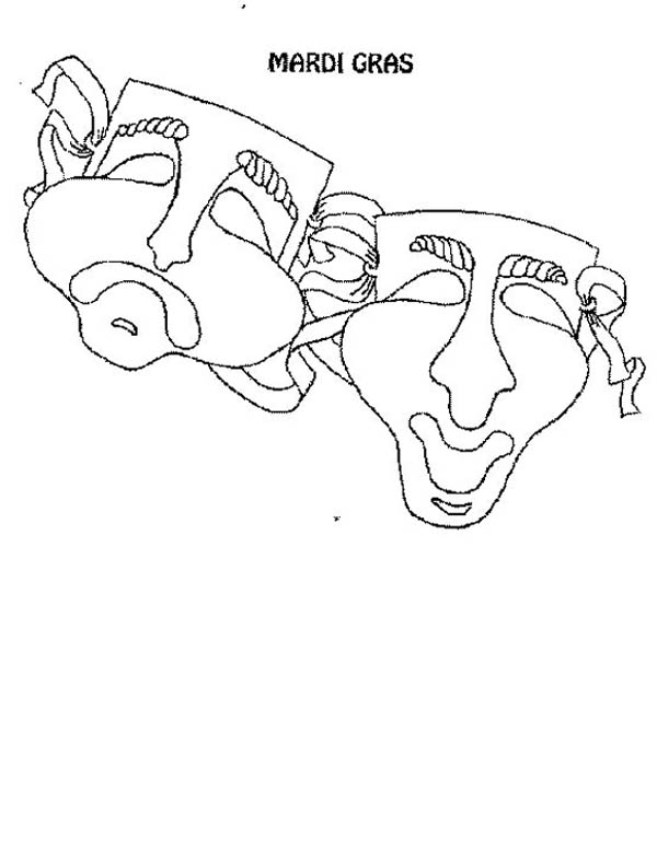 Mask Mardi Gras Symbol Coloring Pages For Kids | Coloring pages ... | 776x600